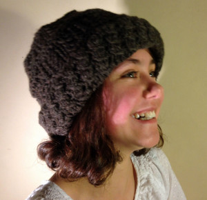 Two-layer knitted cap using blended fibers.